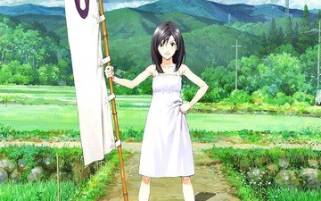 girl, look, anime, hair, face, summer wars, shinohara natsuki