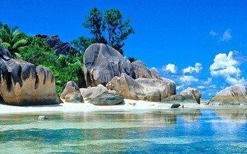 rocks, nature, beach, island, tropics, seychelles, la digue