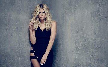 платье, блондинка, взгляд, лицо, актриса, черное платье, знаменитость, эшли бенсон