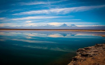 clouds, water, lake, nature, reflection, chile, the atacama desert