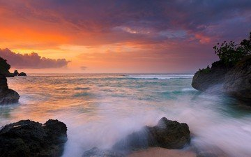 скалы, природа, камни, закат, побережье, океан, остров, индонезия, бали, indeonesia