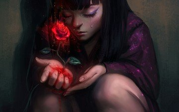 art, blood, rose, girl, tear, destiny