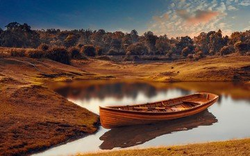 lake, river, nature, landscape, boat, india