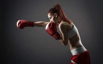 girl, sport, boxing, gloves, redhead