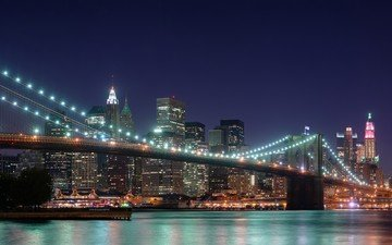 night, bridge, skyscrapers, usa, new york, brooklyn bridge