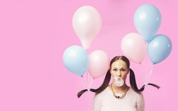 girl, brunette, look, hair, face, balloons, gum, tails, chewing gum
