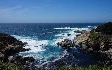 water, rocks, stones, shore, landscape, sea, horizon, coast, bay, usa, the pacific ocean