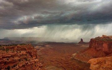 clouds, rocks, nature, landscape, desert, canyon, rain