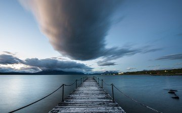 the sky, clouds, shore, sea, horizon, pierce, bay, twilight, chile, patagonia, puerto natales
