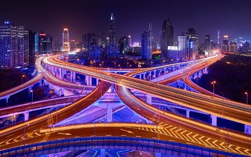 light, road, night, lights, the city, shanghai, china, bridges, excerpt