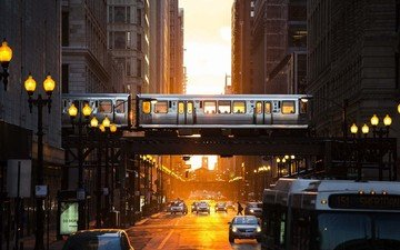 light, lights, the evening, the city, street, usa, metro, machine, building, overpass, cars, chicago