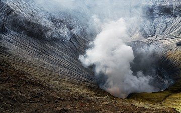 nature, landscape, smoke, crater, the volcano, indonesia, java, bromo