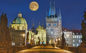 night, bridge, castle, the city, the moon, prague, czech republic, rolf fischer
