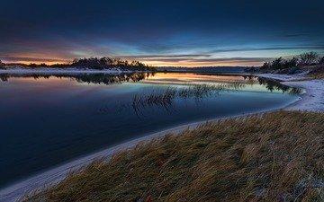 ночь, река, берег, пейзаж