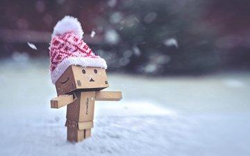 snow, winter, hat, man, box, danbo