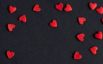 love, black background, hearts