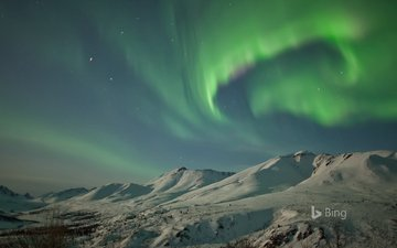 mountains, snow, winter, landscape, northern lights, arctic