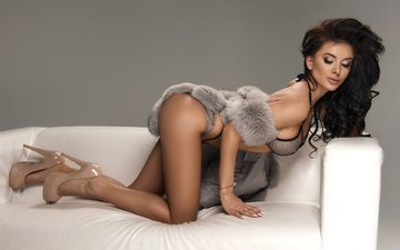 pose, brunette, sofa, fur, high heels