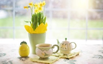 flowers, drink, mug, tea, kettle, daffodils