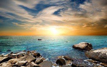 the sky, stones, shore, sunset, landscape, sea, coast