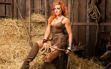 girl, look, fight, red, model, hair, photoshoot, becky lynch