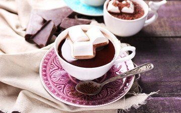coffee, chocolate, marshmallows, cocoa, hot chocolate, marshmallow