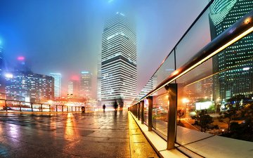 night, lights, the city, megapolis, china, convention center, supermarket