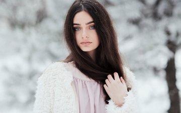 зима, девушка, брюнетка, взгляд, волосы, лицо, шуба