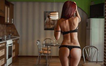 девушка, модель, спина, позирует, попка, в белье