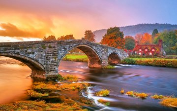 grass, river, mountains, nature, bridge, autumn, village, cottage, wales