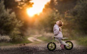road, children, girl, child, bike