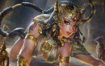 art, decoration, girl, fantasy, goddess, woman warrior