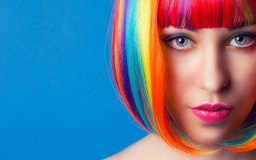 девушка, портрет, разноцветные, взгляд, волосы, лицо, прическа