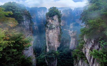 mountains, rocks, nature, landscape, morning, fog, china, national park, zhangjiajie, zhangjiajie national forest park, zhangjiajie national park