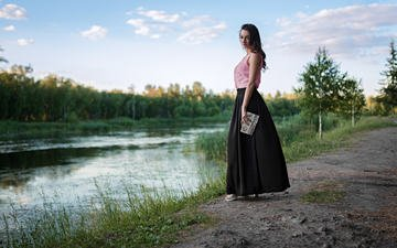 the sky, clouds, river, girl, brunette, skirt, model, sergey fat