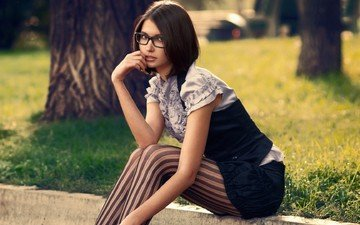 style, girl, park, glasses, skirt, tights, model, sitting, face, border, blouse, vest