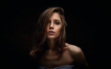 girl, portrait, model, black background, face, bare shoulders, kseniya kokoreva
