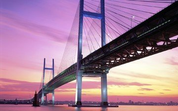 the sky, nature, sunset, horizon, bridge, japan, yokohama