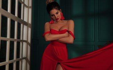 girl, brunette, look, model, face, red dress, red lipstick, neckline, bare shoulders, olga blokhina, olga novikova