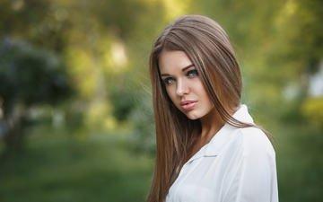 девушка, портрет, взгляд, волосы, губы, лицо, голубые глаза, боке, белая рубашка, alexander astakhov