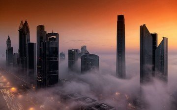 the sky, fog, the city, home, dubai, uae