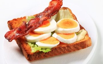sandwich, bread, eggs, toast, bacon