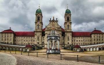clouds, castle, switzerland, tower, architecture, arch, clock tower, einsiedeln