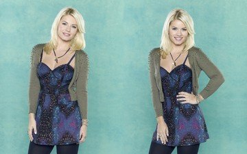 girl, background, dress, blonde, smile, model, actress, collage, elisha cuthbert, celebrity