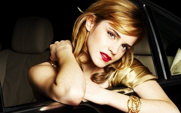 girl, look, model, face, actress, car, red lipstick, emma watson, long hair
