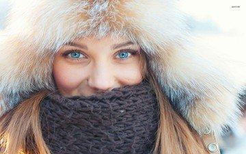 зима, девушка, взгляд, модель, лицо, шапка, голубые глаза, мех, шарф