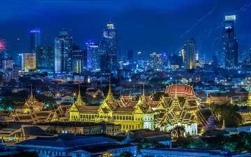 night, lights, panorama, home, holiday, thailand, bangkok, festival