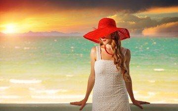 закат, девушка, море, модель, помада, шляпа, белое платье, длинные волосы
