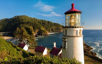 природа, пляж, маяк, океан, oregon coast, heceta head light