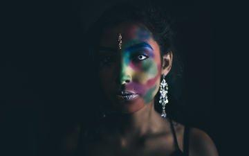 girl, portrait, look, model, black background, face, earrings, hector landeros